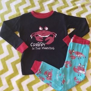 """Lazy One """"Crabby in the Morning"""" Pajamas 3t"""